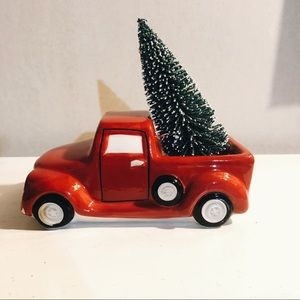 Ceramic red Christmas truck and tree